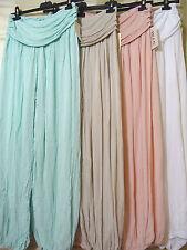 Womens Harem Cuffed Plain double Stretch Waist Ali Baba Ladies Trousers Pants UK