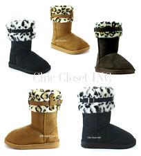 Women Faux Fur Shearling Leopard Collar Mid Calf Tall Snow Slip On Winter Boots