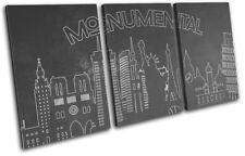 Monuments Silouhette  City TREBLE CANVAS WALL ART Picture Print VA