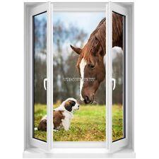 Sticker mural Fenêtre trompe l'oeil  Chien et Cheval 5373 5373