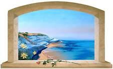 Sticker Trompe L'oeil Adesivo Finestra sul mare a scala dei turchi in sicilia