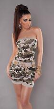 Camouflage Jumpsuit Strapless; Belt Inc.Beige /khaki  Fits 8 10 hotpants