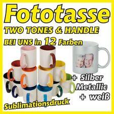 Fototasse farbig Two Tones metallic bicolor Fotobecher Fotogeschenk Muttertag