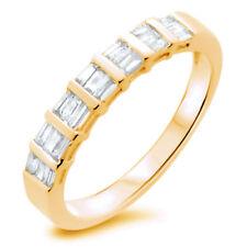 0.65ct Bar Set Baguette Cut Diamonds Half Eternity Wedding Ring , 9K Yellow Gold