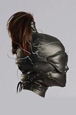 Leather Ponytail Hood + leather blindfold & muffle gag / Vegan Leather mask