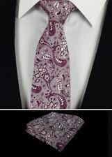 Cravatta da Uomo Set Fazzoletti Matrimonio Fazzoletto Viola Prugna Bacca
