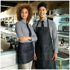 Denim Apron for Cafe Restaurant Chefs Butchers Kitchen Cooking Baking 4 Pocket