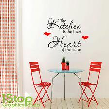 the Kitchen is the Heart of el hogar Pequeño Adhesivo de pared con texto