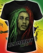 Bob Marley lady T-shirt UV-reactive Glow in Blacklight Reggae Music Festival Tee