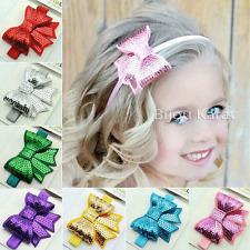 Kinder Mädchen Pailetten Haarband Stirnband Schleife Haarschmuck  Fotoshooting