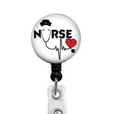 Nurse Heart LVN RN Stethoscope Retractable ID Badge Reel Holder, 565