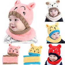 Lovely Toddler Baby Winter Warm Beanie Cap Boys Girls Earflap Knit Hat Scarf Set
