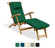 Serenity Garden Teak Steamer Chair & Cushion, Poolside Patio Wooden Sun Lounger