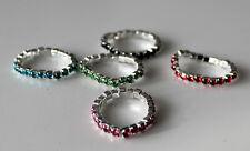 NUEVO Joya Moderna 5 anillos elásticos  Anillo Piedras Brillantes Rojo Azul