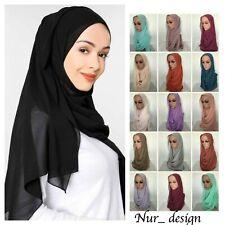 High Quality Plain Bubble Chiffon Muslim Scarf Hijab 180x70 - 180x85 cm