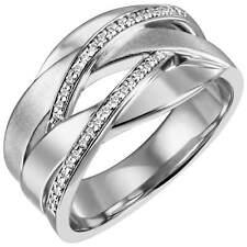 Breiter Ring Damenring 34 Zirkonia 925 Silber rhodiniert teilmattiert Fingerring