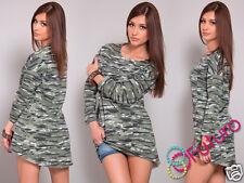 Ladies Asymmetric Camouflage Tunic Long Sleeve Top Mini Dress Size 8-12 FT1113