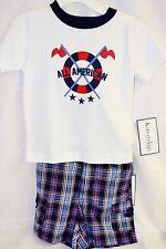 Kitestrings by Hartstrings 2 PC Outfit Boys Infant Blue Plaid Shorts White Shirt