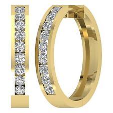 Vs1 E 2.20 Carat 14K Yellow Gold Hoop Earring Channel Set Natural Round Diamond