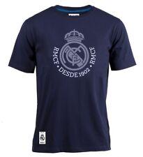 T-shirt ufficiale Real Madrid Blu Navy Stemma adulto Originale cotone 2018 2019