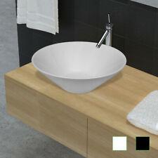 Vasque à poser Lavobo Lave-mains rond en céramique Blanc/Noir pour salle de bain