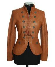 Ladies SCARLETT Tan New Retro Casual Short Real Soft Lambskin Leather Jacket