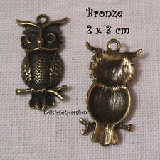 409 - LOT de 2 CHARM / BRELOQUE / PENDENTIF - CHOUETTE HIBOU Bronze - 20 x 30 mm