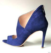 NIB $690 PRADA MIU MIU navy suede open-toe asymmetric strap shoes - super sexy