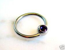 "Gem Captive Bead Ring 16g 3/8"" Lip Tragus Ear Purple CZ"