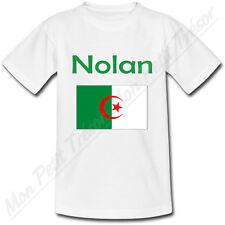 T-shirt Adulte Drapeau Algérie avec Prénom Personnalisé - du S au 2XL