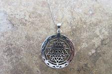 Sacred Geometry Sri Yantra Meditation Pendant Necklace Sterling Silver Jewelry