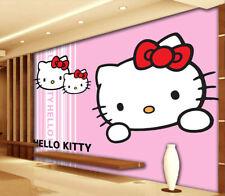 Handbemalte niedlich HelloKitty 3D Voll Wandgemälde Foto Tapete Drucken Zuhause