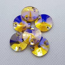 Aufnähsteine Glas Strass zum Aufnähen Rivoli/Kreis Gold Topaz  AB