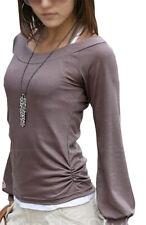 Damen Bluse Tunika Shirt Longshirt Ballon Ärmel Pulli Langarmshirt 36 38 40 42