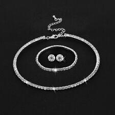 Rhinestone Crystal Choker Necklace Earrings and Bracelet Wedding Jewelry Sets