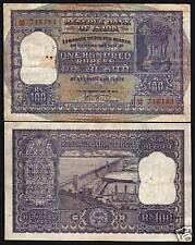 "INDIA 100 RUPEES P44 1957 DAM TIGER LARGE ""AA"" PFX.RARE INDIAN BANK NOTE"