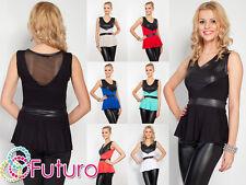 NEW Elegant Women's Top Eco Leather Sleeveless Tunic V Neck Size 8-12 8100