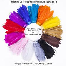 Neotrims REAL Goose Feathers Trimming, Border Fringe on Satin Ribbon, Costume