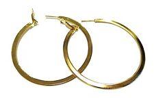Hoop Earrings Cast Metal 2.25 Inch Hoops Shiny Gold Or Silver Tone Earrings Flat