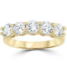 2 ct Real Diamond Wedding Ring 14k Yellow Gold 5-Stone Womens Anniversary Band