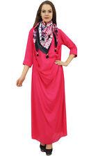 Bimba Designer Women's Cowl Maxi Crimson Dress With Printed Tassel Scarf