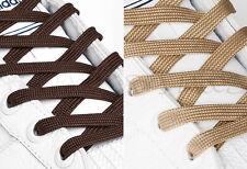 PIATTO Marrone Scarpa Lacci lunghi lacci delle scarpe - 8mm WIDE - 11 Lunghezze - 2 Tonalità