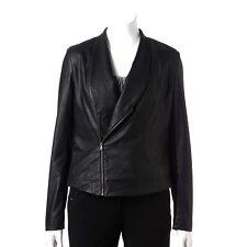 Womens $84 Jennifer Lopez Faux Leather Ladies J LO Motorcycle Jacket BLACK  Med
