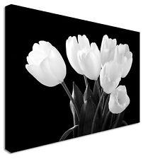Tulip Darkness Black & White Garden Floral Flower Canvas Wall Art Print