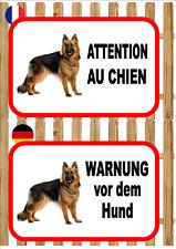 German Shepherd  Beware of the Dog Sign ATTENTION AU CHIEN WARNUNG VOR DEM HUND