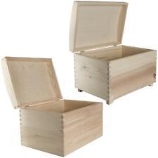 Plain Pine Wood Decorative Treasure Chest with Curved Lid | Keepsake Storage Box