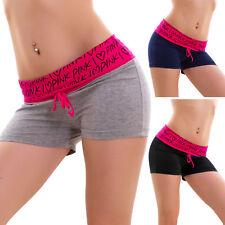 Pantaloncini donna shorts sport fitness cuori pink cotone hot pant nuovi B7287