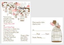 100 Personalized Custom Vintage Birdcage Floral Bridal Wedding Invitations Set