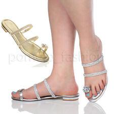 Da Donna con Tacco Basso Punta Piatta Anello di diamante con cinturini Infradito Sandali Taglia
