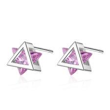 Tiny Pink & White Crystal Zircon Geometric Triangle Stud Earrings for Women Girl